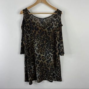 Clara Sun Woo Top Leopard Print Cold Shoulder